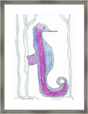 Framed Print featuring the painting Seahorse by Helen Holden-Gladsky