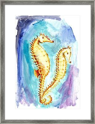 Seahorse Love Marine Watercolor Framed Print by Tiberiu Soos