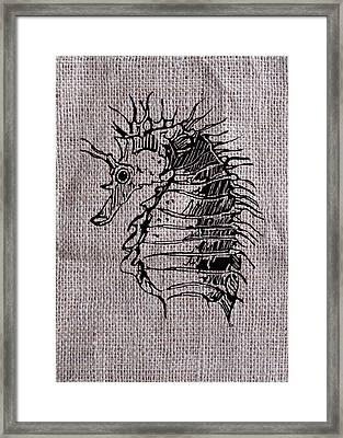 Seahorse On Burlap Framed Print