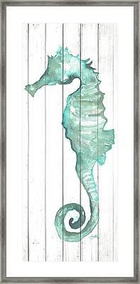 Seahorse On Wood Plank Framed Print by Elizabeth Medley