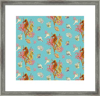 Seahorses Coral And Shells Framed Print by Kimberly McSparran