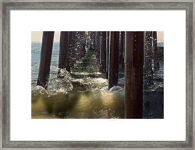 Seal Beach Pier Surf Framed Print by Heidi Smith