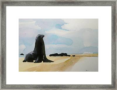 Framed Print featuring the painting Seal Rock by Ed  Heaton