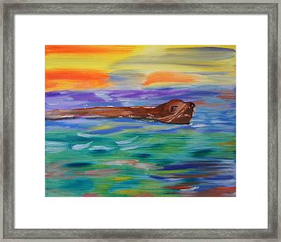 Framed Print featuring the painting Sunny Sea Lion by Meryl Goudey