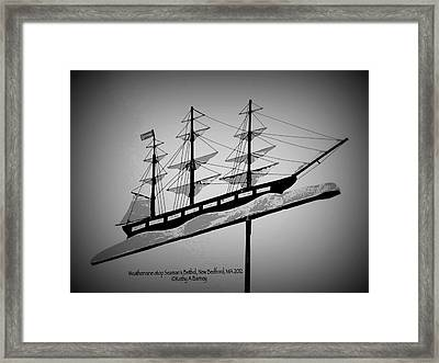 Framed Print featuring the photograph Seaman's Bethel Weathervane  by Kathy Barney