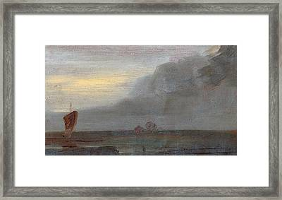 Seapiece With Boats Evening, Unknown Artist Framed Print by Litz Collection