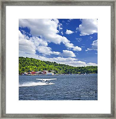 Seaplane On Water Framed Print