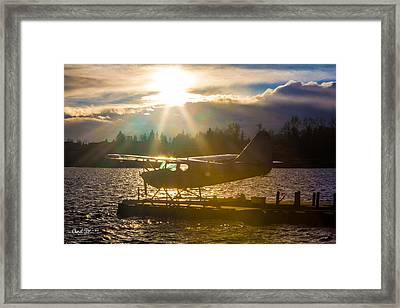 Seaplane Sunset Framed Print by Charlie Duncan