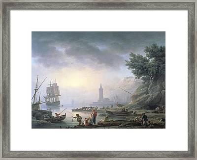 Seaport At Dawn, 1751 Framed Print