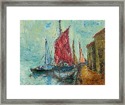 Seaport Painting Framed Print by Russell Shively