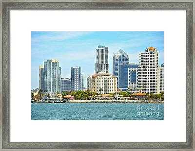 Seaport Village And Downtown San Diego Buildings Framed Print by Claudia Ellis