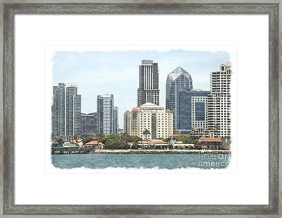 Seaport Village And Downtown San Diego Watercolor Framed Print by Claudia Ellis