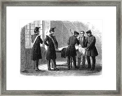 Searching A Suspect At A Prefeture Framed Print by Mary Evans Picture Library