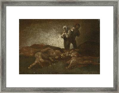Searching Among The Corpses Framed Print