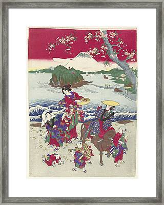 Searching For Shells On The Beach, Japanese Print Framed Print by Anonymous