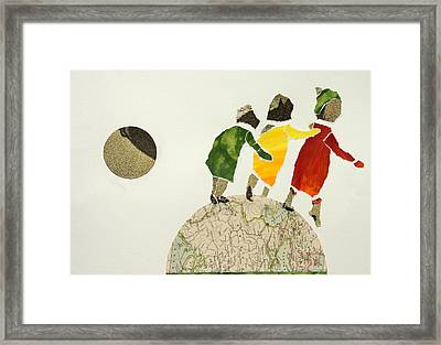 Helping Each Other In Our Way Over The Globe Framed Print by Jolly Van der Velden