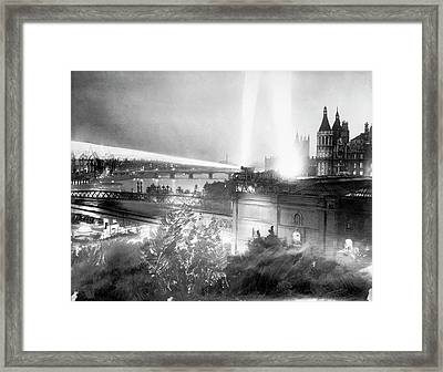 Searchlights Over London Framed Print by Library Of Congress