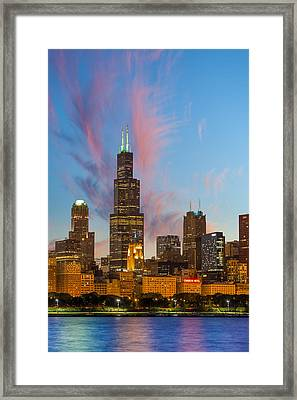Sears Tower Sunset Framed Print by Sebastian Musial