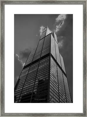 Sears Willis Tower Black And White 01 Framed Print by Thomas Woolworth