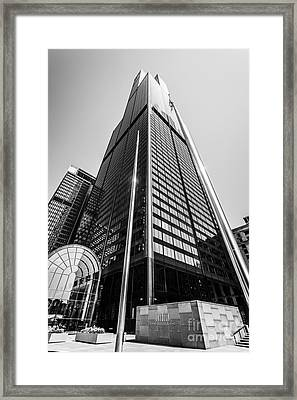Sears Willis Tower Chicago Black And White Picture Framed Print