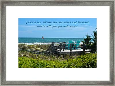 Seascape And Scripture Framed Print by Sandi OReilly