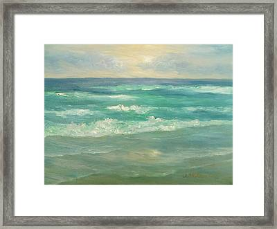 Seascape  Glowing Sunset Framed Print