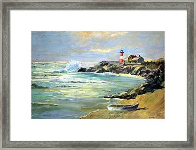 Framed Print featuring the painting Seascape Lighthouse By Mary Krupa by Bernadette Krupa