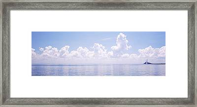 Seascape With A Suspension Bridge Framed Print