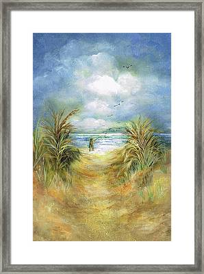 Seascape With Fisherman Framed Print