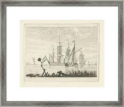 Seascape With Various Vessels, Gerrit Groenewegen Framed Print by Gerrit Groenewegen