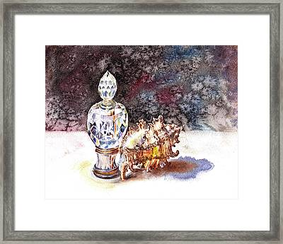 Seashell And Crystal Still Life Framed Print