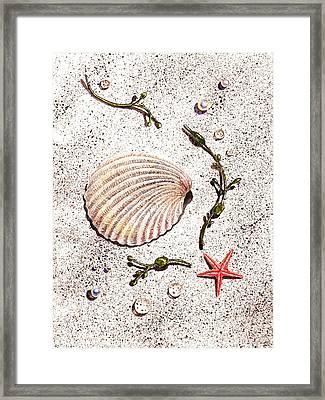 Seashell Sea Star And Pearls On The Beach Framed Print by Irina Sztukowski