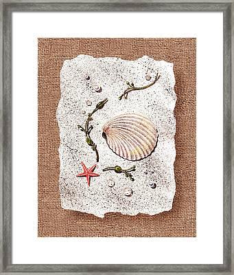 Seashell With Pearls Sea Star And Seaweed  Framed Print by Irina Sztukowski
