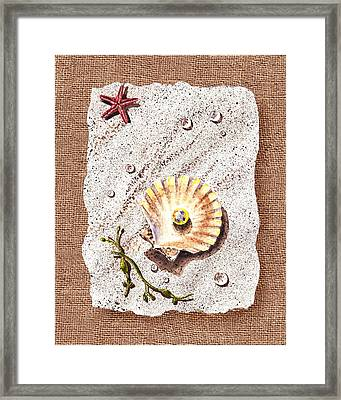 Seashell With The Pearl Sea Star And Seaweed  Framed Print by Irina Sztukowski