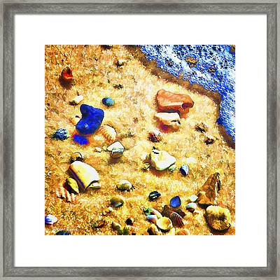 Seashells And Surf Framed Print
