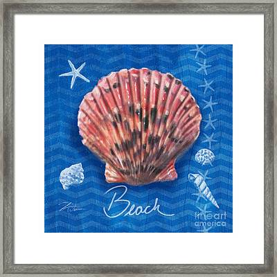 Seashells On Blue-beach Framed Print