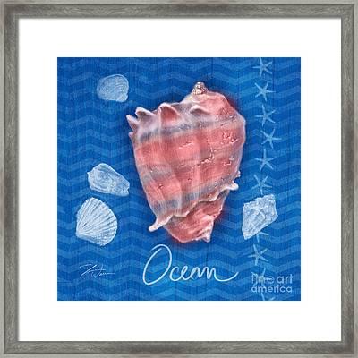 Seashells On Blue-ocean Framed Print