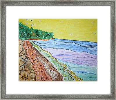 Framed Print featuring the painting Seashore Bright Sky by Stormm Bradshaw