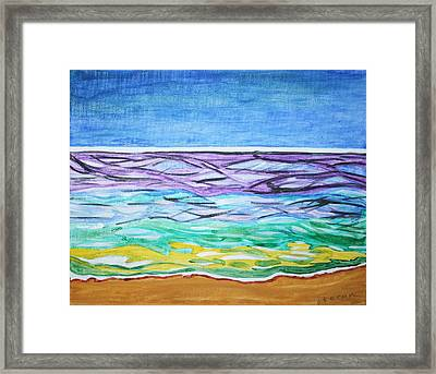 Framed Print featuring the painting Seashore Blue Sky by Stormm Bradshaw