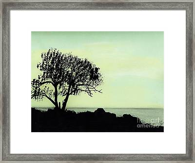 Framed Print featuring the drawing Seashore Silhouette by D Hackett