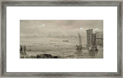 Seashore Study Low Tide, With Fishing Boats And Fisherfolk Framed Print by William Collins