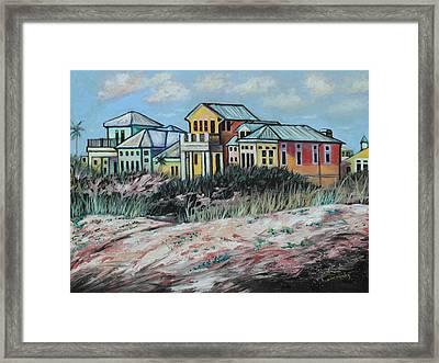 Seaside Cottages Framed Print by Eve  Wheeler
