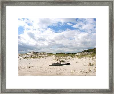 Framed Print featuring the photograph Seaside Driftwood And Dunes by Pamela Hyde Wilson