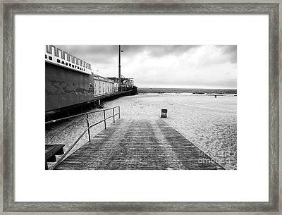 Seaside Heights Beach In Black And White Framed Print by John Rizzuto