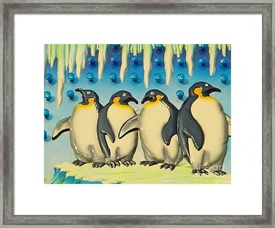 Seaside Funtown Penguins Framed Print