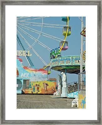 Seaside Funtown Ferris Wheel Framed Print