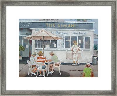 Framed Print featuring the painting Seaside Lunch by Tony Caviston
