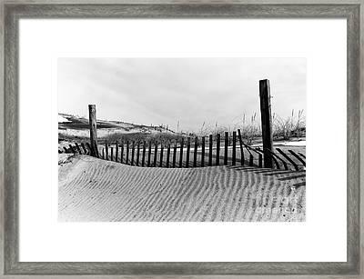 Seaside Park Dune Mono Framed Print by John Rizzuto
