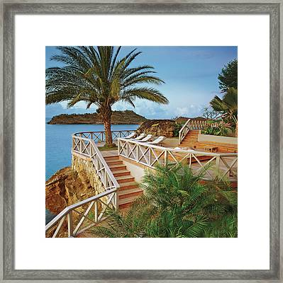Seaside Resort With Stairs And Palm Tree Framed Print
