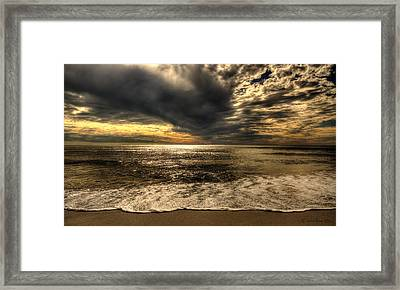 Framed Print featuring the photograph Seaside Sundown With Dramatic Sky by Julis Simo